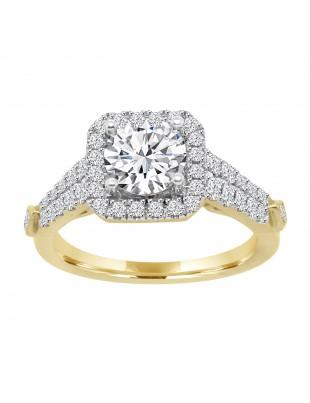 1/2 ct Lab Grown Diamond 14k Gold Square Halo Semi Mount Engagement Ring