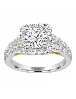 1/2ct Lab Grown Diamond 14k TT Gold Semi Mount Square Halo Engagement Ring