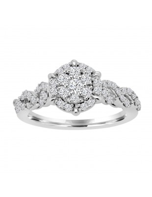 Lab Grown Diamond Floral Cluster Infinity Engagement Ring 14k Gold 0.63ct