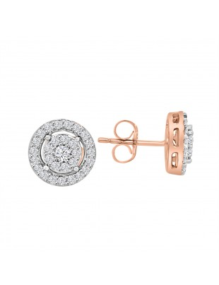 1/2 ct Round Diamond 14k Rose Gold Cluster Earring