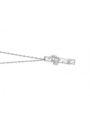 1/10ct Round Diamond 14k White Gold Cross Pendant Necklace with Chain