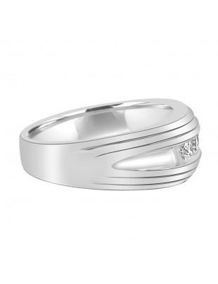 1/2ct Round Diamond  10K White Gold Band Men's Wedding Anniversary Channel Set Ring