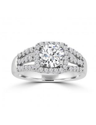 1/2ct Lab Grown Diamond 14k White Gold Semi Mount Square Halo Engagement Ring