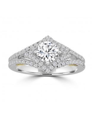 1/2ct Lab Grown Diamond 14k TT Gold Semi Mount Halo Engagement Ring