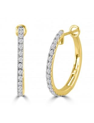 1/2ct Round Diamond 14k Yellow Gold Prong-Set Hinged Hoop/Huggie Earrings