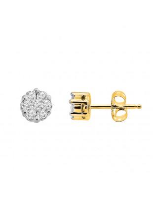 Natural Diamond Cluster Flower Stud Earrings 10k Yellow Gold 0.25 CTW