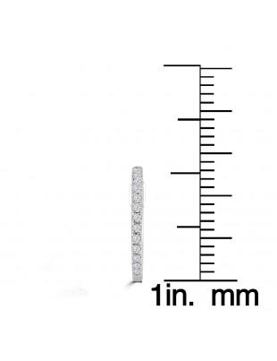 1/10ct Round Pave Diamond 14k White/Yellow Gold Mini Huggie Earrings
