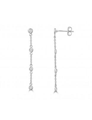 1/4ct Bezel Diamond By The Yard 14k White/Yellow Gold Dangle Earrings