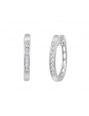 Channel Set Round Diamond 14k White Solid Gold Huggie Earrings