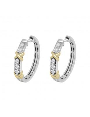 1/4ct Round & Baguette Diamond 14k Two Tone Gold X Hoop Earrings