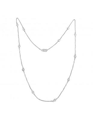 """1/2ct Bezel Set Diamond By The Yard 14k White Gold Station Necklace 16""""-17""""-18"""""""