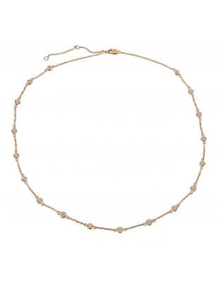 1.00ct Bezel Set Champagne Diamond  By The Yard 14k Rose Gold Station Necklace