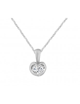 1/4ct Round Diamond 14k White/Rose Gold Tension Set Solitaire Pendant Necklace