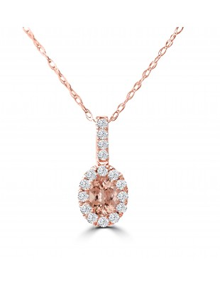 3/4ct Morganite & Diamond 14k Rose Gold Halo Oval Pendant Necklace