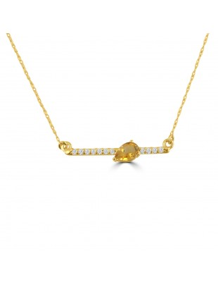 0.45ct Pear Citrine & Diamond 14k Yellow Gold Bar Pendant Necklace