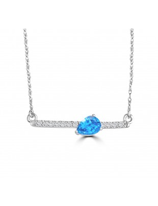 0.60ct Pear Blue Topaz & Diamond 14k White Gold Bar Pendant Necklace