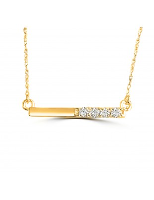 0.15ct 4 Round Diamond 14k White/Yellow/Rose Gold Bar Pendant Necklace