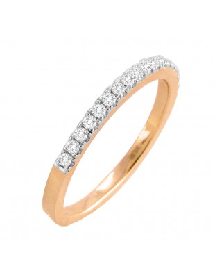 14k Solid Rose Gold 1/4ct Round Diamond Half Eternity Wedding Band Ring