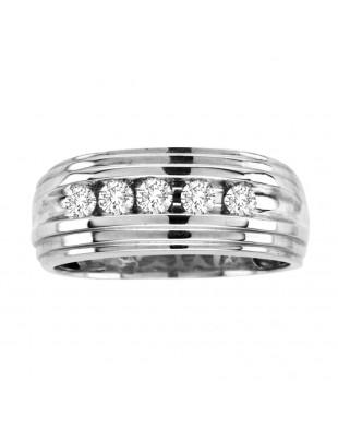 9mm Men's Wedding Anniversary Channel Set 1/2ct Diamond  Band Ring