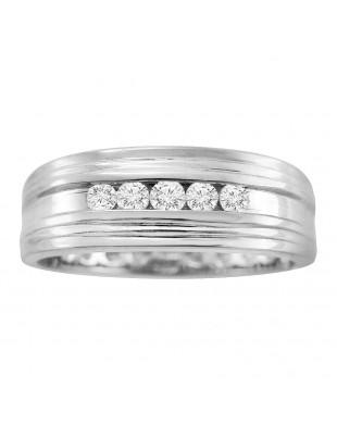 7mm Men's Wedding Anniversary Channel Set 0.25ct Diamond White Gold Band Ring
