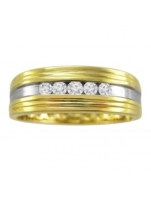 7mm Men's Wedding Anniversary Channel Set 0.25ct Diamond Two Tone Gold Band Ring