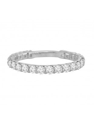 1.00ct Round Cut Diamond 14k White Gold Eternity Wedding Band Ring