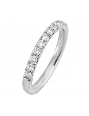 1/2ct Round Diamond 14k White Gold Half Eternity Wedding Band Ring