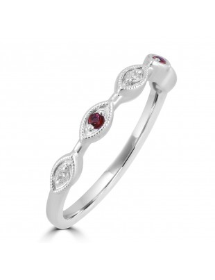 Diamond & Ruby 10k White Gold Marquise Shape Milgrain Wedding Band Ring