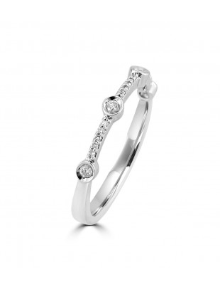 1/10ct Bezel Set Diamond 10k White Gold Anniversary Stackable Band Ring