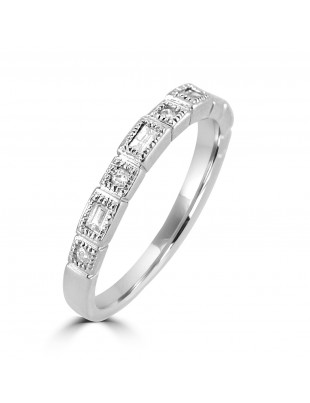 Bezel Set Baguette & Round Diamond 10k Gold Milgrain Stackable Band Ring