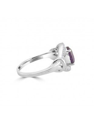 1.55ct Round Amethyst & Diamond 14k White Gold Evil Eye Ring