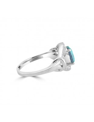 1.75ct Round Blue Topaz & Diamond 14k White Gold Evil Eye Ring