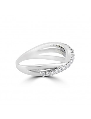 1/4ct Pave Diamond 14k White Gold Crossover Anniversary Band Ring