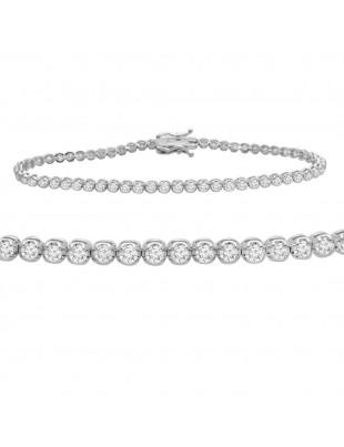 1.50ct Genuine Round Diamond 14k White Gold Ladies Tennis Bracelet 7 Inch