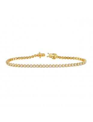 1.50ct Natural Round Diamond 14k Yellow Gold Ladies Tennis Bracelet