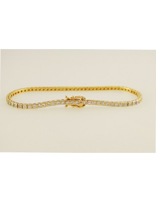 Channel Setting 2.00ct Natural Round Diamond 14k Yellow Gold Tennis Bracelet
