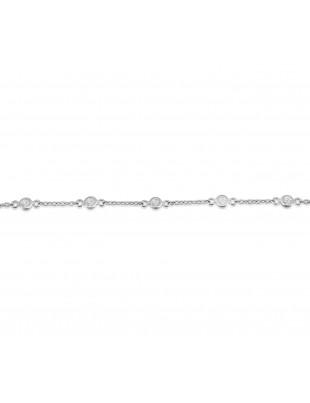 1/4ct Bezel Set Diamond 14k White/Yellow Gold By The Yard Bracelet