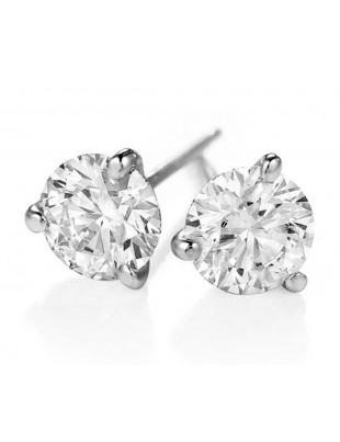0.88ct Martini Set 3 Prong Solitaire Round Diamond 14k White Gold Stud Earrings