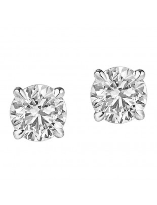 Natural Diamond Round Solitaire Stud Earrings 14k White Gold 0.25 CTW