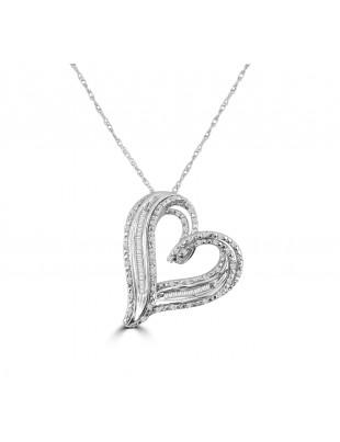1/4ct Round & Baguette Diamond 10k White Gold Open Heart Pendant Necklace