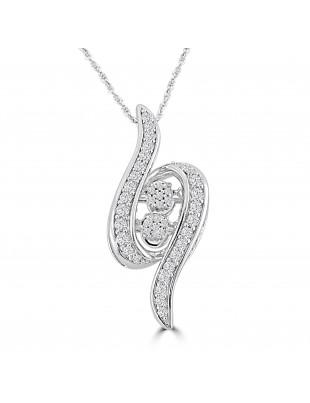 1/2cttw Round Diamond 10k White Gold Dancing Diamond Pendant Necklace