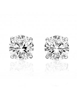0.88ct Natural Round Diamond 14k White Gold Stud Earrings Screw Backs