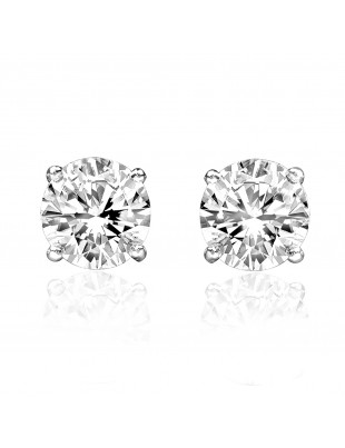 1/5ct Solitaire Round Diamond 14k White Gold Stud Earrings Screw Backs