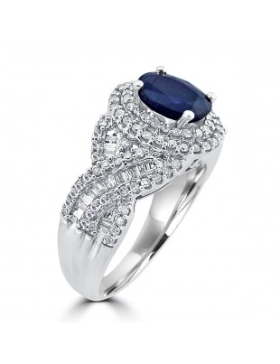 2.33ct Round Baguette Diamond & Oval Blue Sapphire 14k Gold Double Halo Ring
