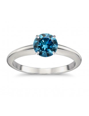 0.65ct Genuine Solitaire Round Blue Diamond 14k White Gold 4 Prong Classic Ring