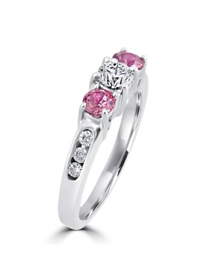 1.10ct Round Diamond & Pink Sapphire 14k White Gold 3 Stone Ring