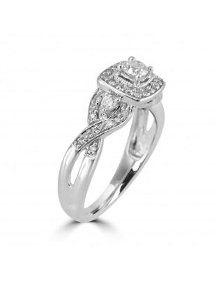 1/2ct  Round Diamond 14k White Gold Square Halo Engagement Infinity Twist Ring