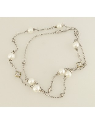 """Judith Ripka Cultured Pearl White Topaz TT Sterling Silver Station Necklace 34"""""""