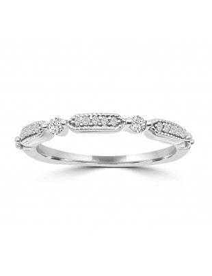 1/5ct Round Diamond 10k White Gold Milgrain Dot Wedding Band Ring