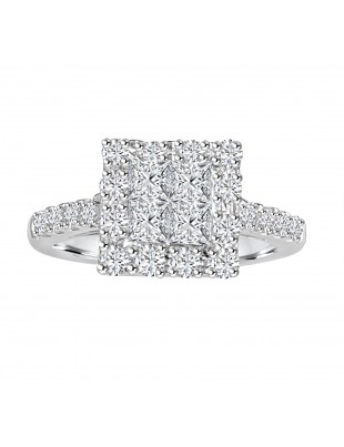 1.00ct Round & Princess Diamond 14k  W Gold Square Halo Engagement Ring